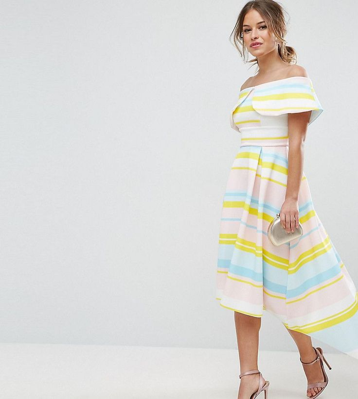 ASOS PETITE Bright Stripe Deep Fold Debutante Dress - Multi