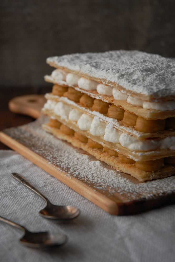 Maple mille feuille with homemade puff pastry, maple pastry cream, and whipped cream