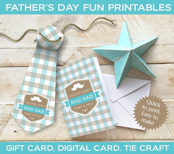 Fathers Day digital printables. 4 unique designs. Each design has a printable gift card (pdf), a matching printable tie craft (pdf), and a digital