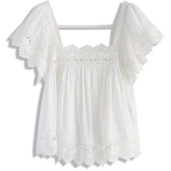 Chicwish Lace Bliss Smock Top in White ($40) ❤ liked on Polyvore featuring tops, white, smocked top, lacy tops, smock tops, white open back top and square neck top
