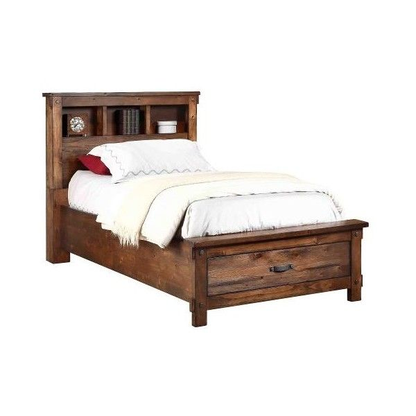 Rustic Brown Twin Storage Bed Jessie ($650) ❤ liked on Polyvore featuring home, furniture, beds, rustic furniture, twin bed, twin headboards, twins furniture and brown headboard