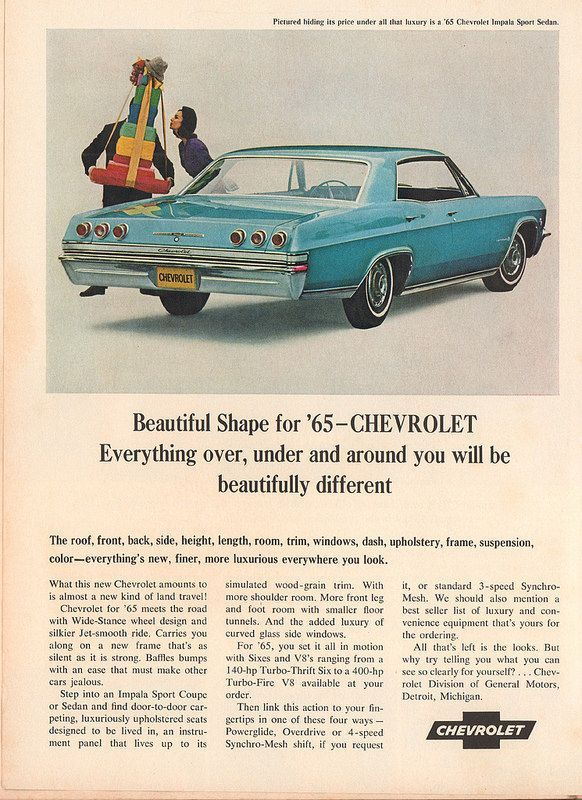 1965 Chevrolet Impala Sport Sedan Advertisement Time Magazine October 2 1964 Classic Cars Usa Classic Cars Vintage Vintage Cars