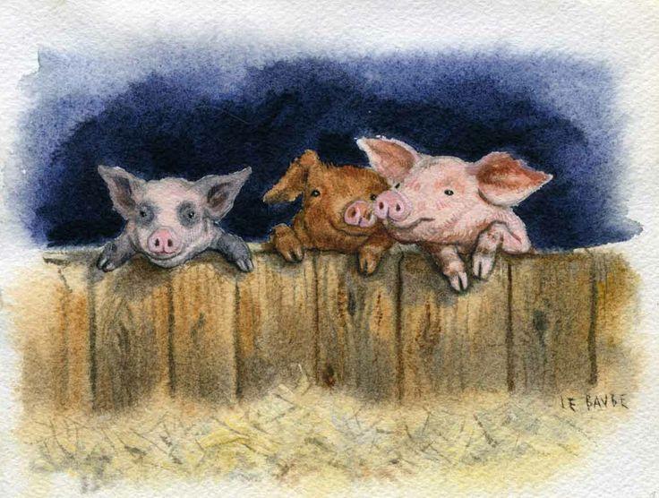 frontispice peinture pr paratoire et illustration pour le conte les trois petits cochons. Black Bedroom Furniture Sets. Home Design Ideas