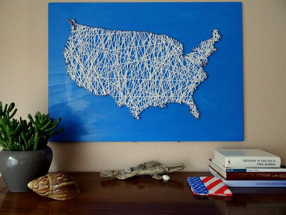 Strung wooden map of the US with wool | 23.6x15.7 - 60x40cm | Wall Art Map picture Poster Globe atlas nature travel America USA continent    The