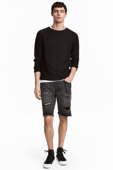 Džínové šortky - Černá sepraná - MUŽI | H&M CZ 1
