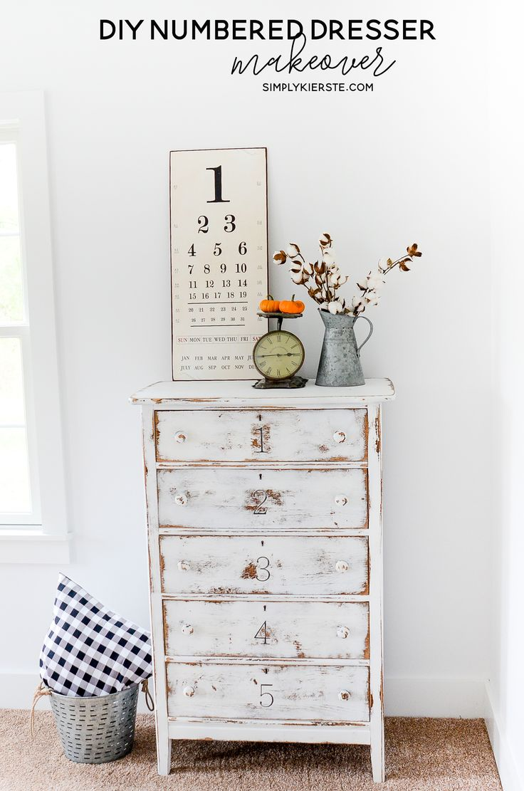 DIY Numbered Dresser Makeover - This darling numbered dresser makeover was so easy to do and I'm sharing all the details! Take an old piece of furniture and turn it into a focal point!
