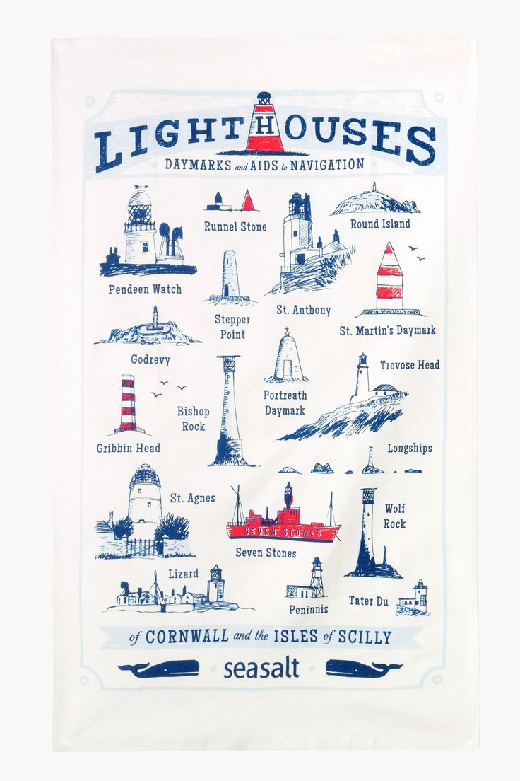 The lighthouses, day marks and aids to navigation of Cornwall and the Isles of Scilly. Tea towel print by Matt Johnson for Seasalt Cornwall.