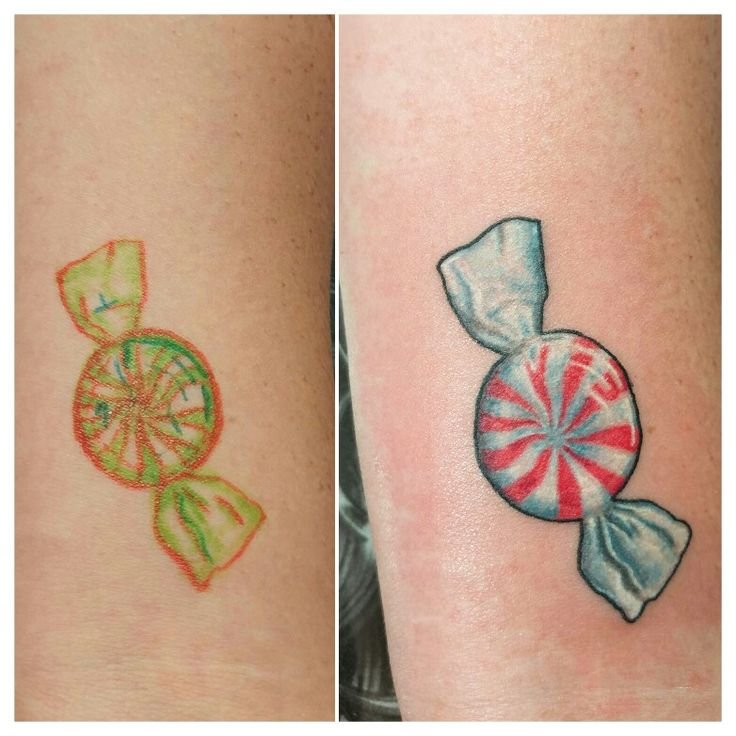 Peppermint candy tattoo done. by Chris Sides. Check out more at www.artofchrissides.com