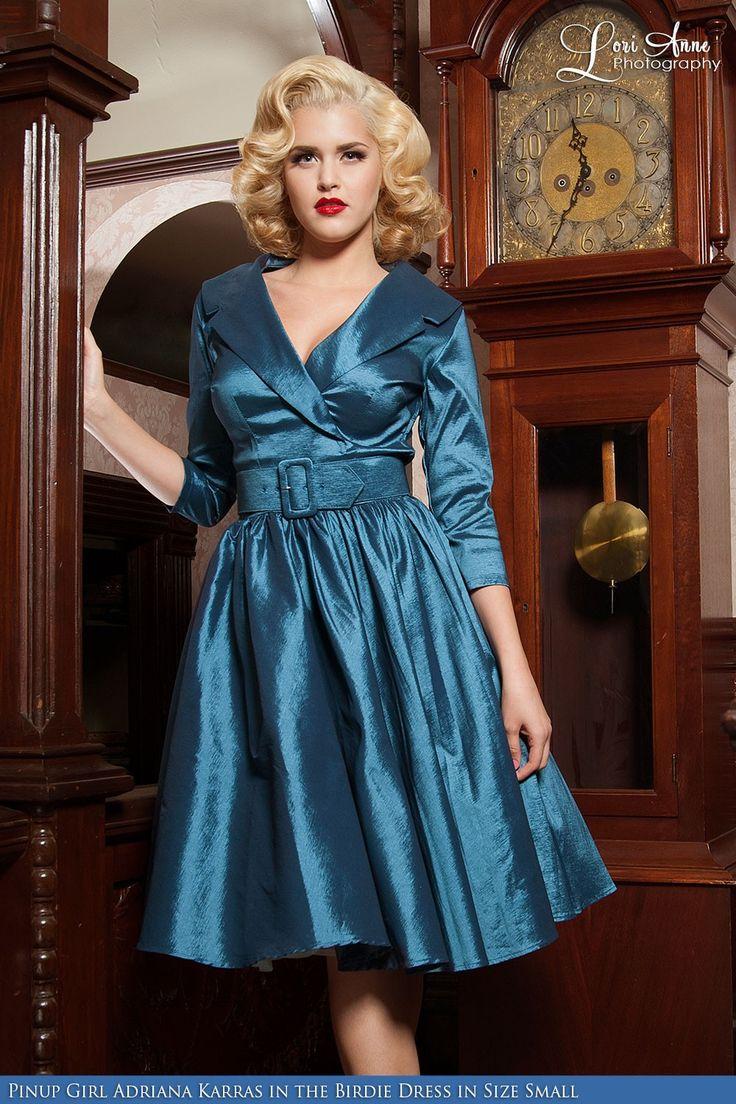 Oof... My life needs this.   Birdie Dress in Teal Blue Sharkskin Taffeta with Three-Quarter Sleeves