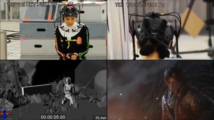 """Motion Capture; Camilla Luddington as Lara Croft during the motion capture recording for """"Rise of the Tomb Raider (2015)"""""""