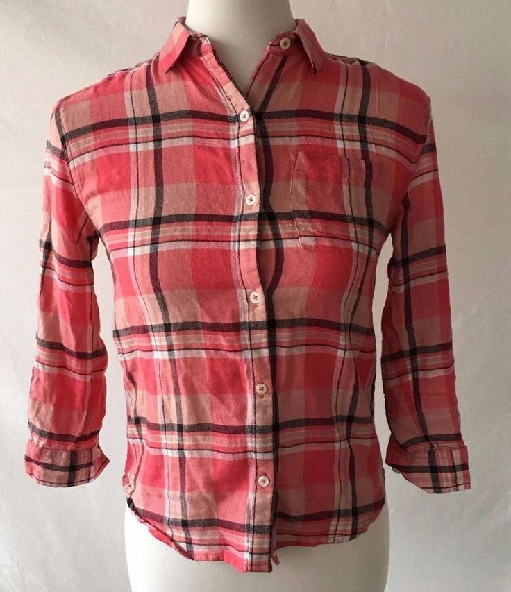 Old Navy Pink Plaid Tunic Flannel Style Women's Button Down Sz M GUC - 102 #OldNavy #ButtonDownShirt