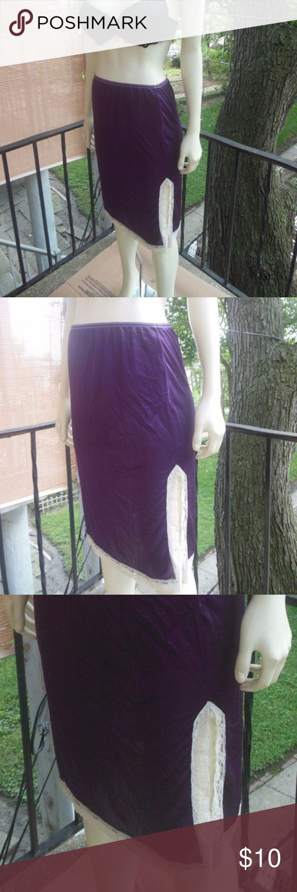 "Purple Slip Skirt Elastic waist poly slip with off center lace vent.  VGUC  Unstretched:  22"" waist  21"" length Vintage Intimates & Sleepwear Chemises & Slips"
