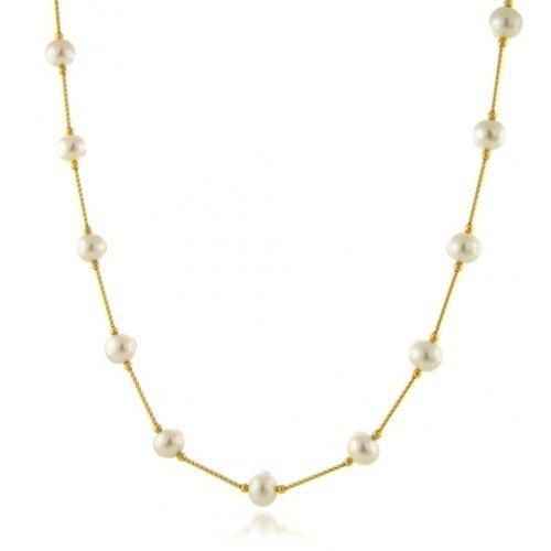 Bling Jewelry 14k Yellow Gold Bar Freshwater Pearl Tin Cup Necklace