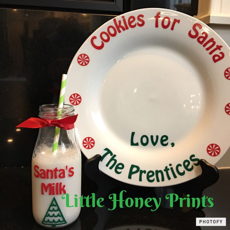 Santa's Cookie Plate and Jug set/Cookies for Santa/Personalized Santa Cookie Plate and Jug by LittleHoneyPrints on Etsy https://www.etsy.com/listing/469770888/santas-cookie-plate-and-jug-setcookies