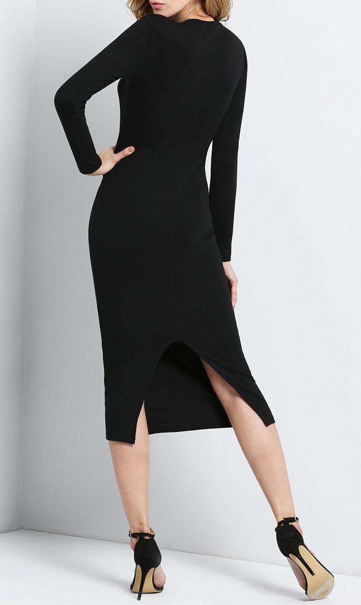 Black long sleeve lace bodycon dress style pinterest