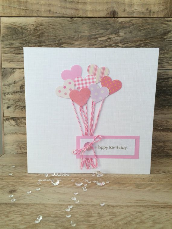 Handmade Birthday Card Pink Heart Balloons Mum