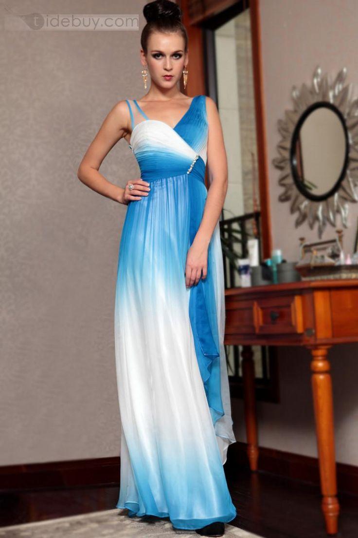Bonito Vestido de Noche Prom sin Manga Largo al Piso (Envío Gratuito)