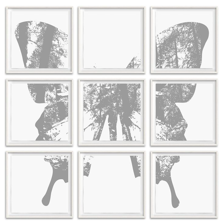 """Butterfly with Forest Wings - Grouping 1 - 9 Frames 26"""" H x 26"""" W each Floated and Dry Mounted - Digital Ink Print on Fine Art Paper White - Wood Ash Frame #artsquaredinc #art #design #gray #artandnature #ButterflyForest #butterflyart"""