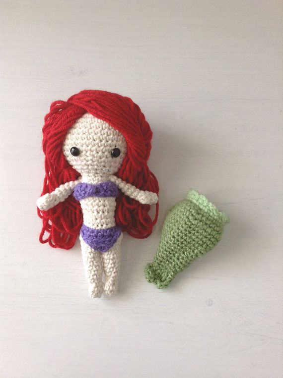 Handmade Mermaid doll with detachable tail fin by ChrisetteDesigns