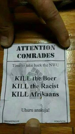 "20 years of ""democracy"" in South Africa - and this is what black students distribute on university campus."
