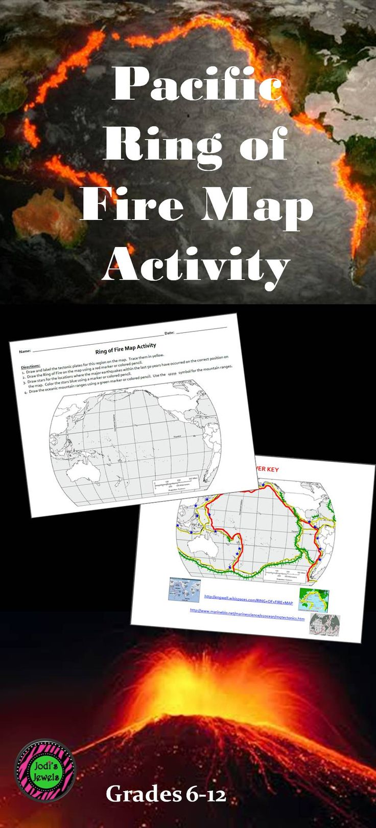 Students will complete a map that shows the tectonic plates, the Ring of Fire, major earthquake activity, and the oceanic mountain ranges for the Pacific Rim. Maps used to create this activity are at the websites on the ANSWER KEY page and can be supplied to students if necessary.