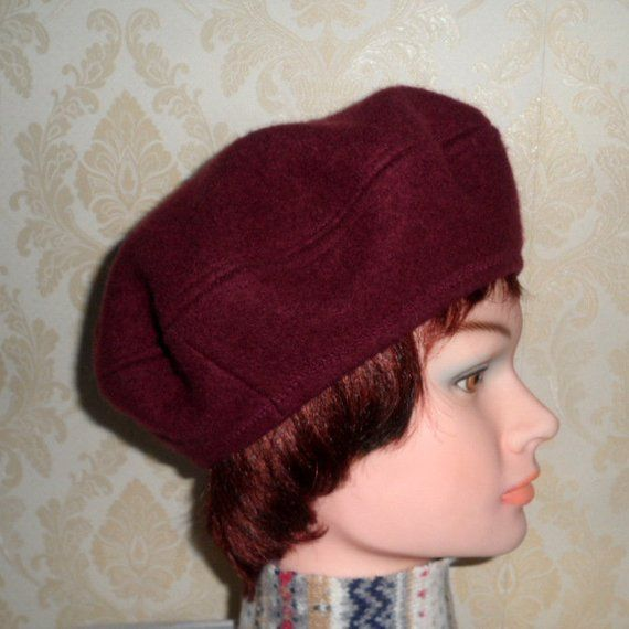 6ae79001c8467 Lady s maroon color wool beret-Women s french style beret-Pure felted wool  beret-Classic women beret-Cream wool beret-Handmade trendy beret