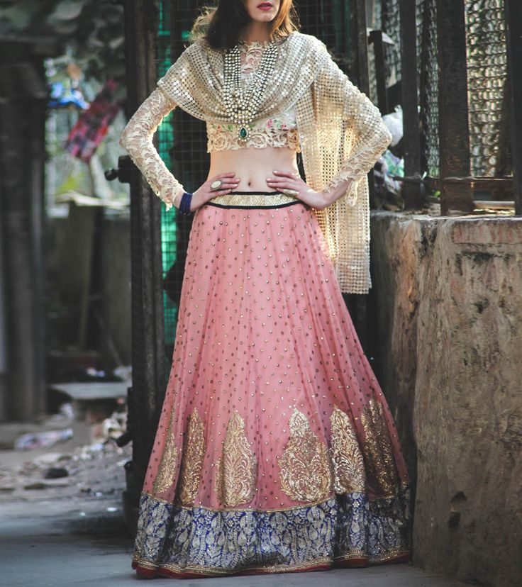 Peach Sequined #Georgette #Lehanga With Gold Embellished #Stole #Indianroots