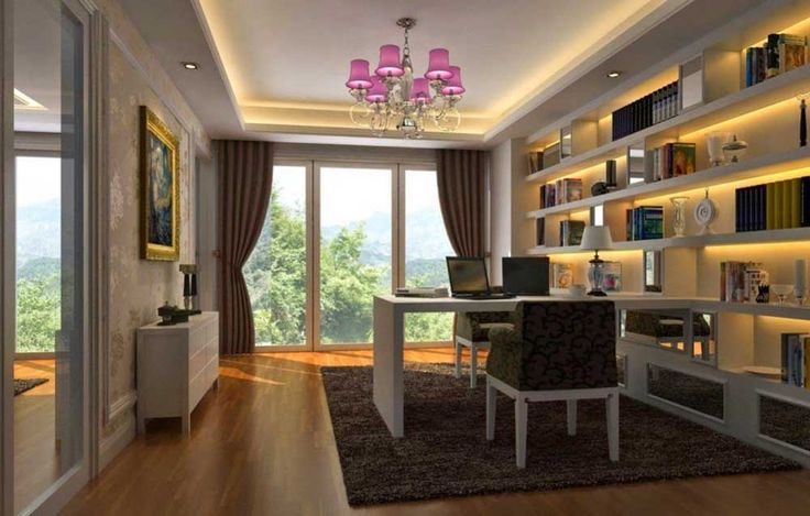 Modern Home Office Furniture House Interior Designs with wooden floor and white cupboard also large windows