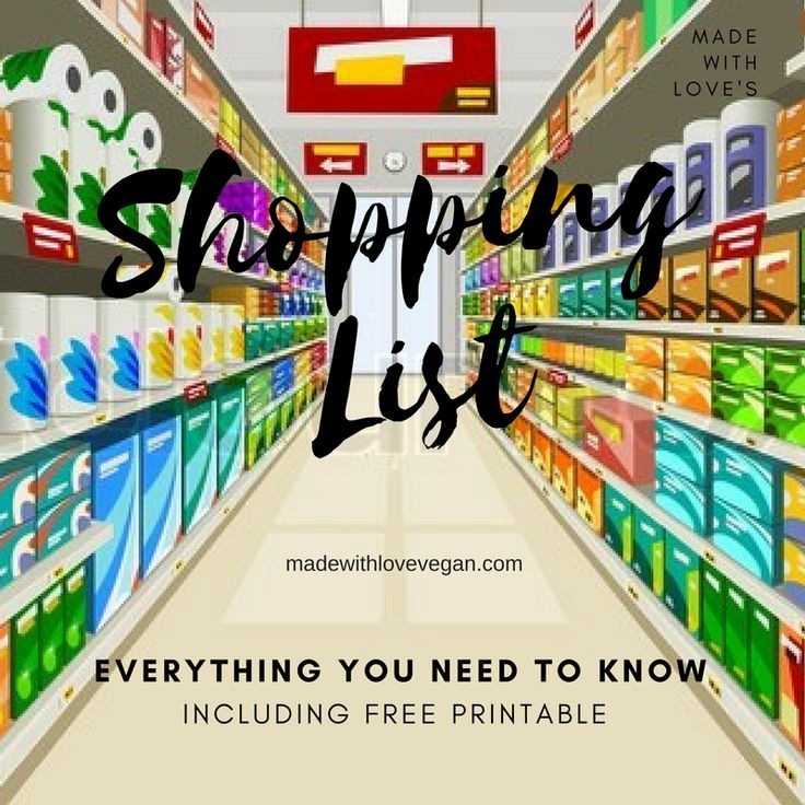 How to grocery shop as a vegan, with printable list!! #vegan #groceryshopping #shoppinglist #veg #whatveganseat #veganhelp #veganhowto #howto
