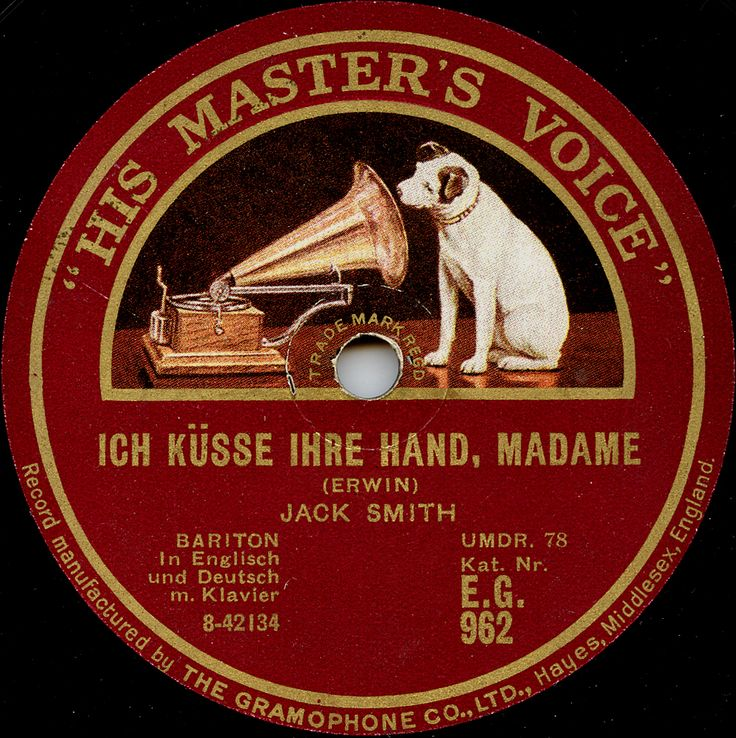 """Record label of His Master's Voice EG 962 by """"Whispering"""" Jack Smith (1898-1951). Picture source: the collection of Fredrik Tersmeden, Lund, Sweden. The HMV logo was designed by Francis Barraud (1856-1924)."""
