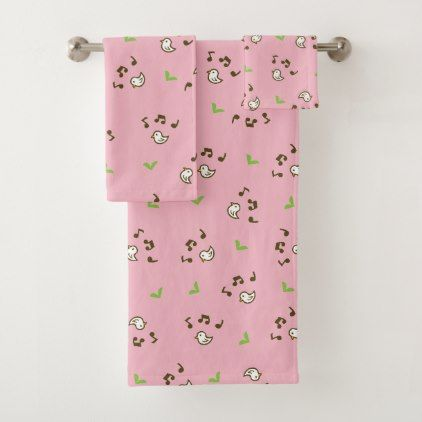 Birds and song pink bath towel set - diy cyo customize create your own #personalize