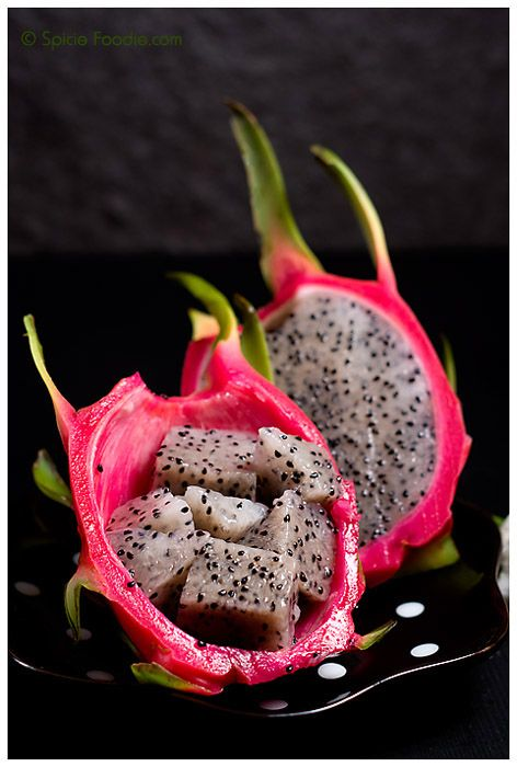 Dragon fruit -photos by Nancy @spiciefoodie...never tried one of these but they are so pretty I can't wait to taste one.