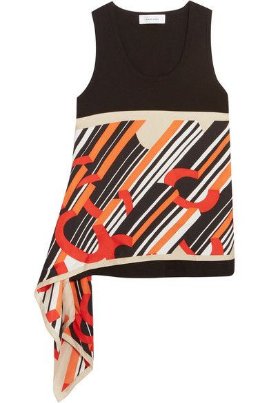Carven - Asymmetric Cotton-jersey And Printed Silk-satin Top - Black - x small