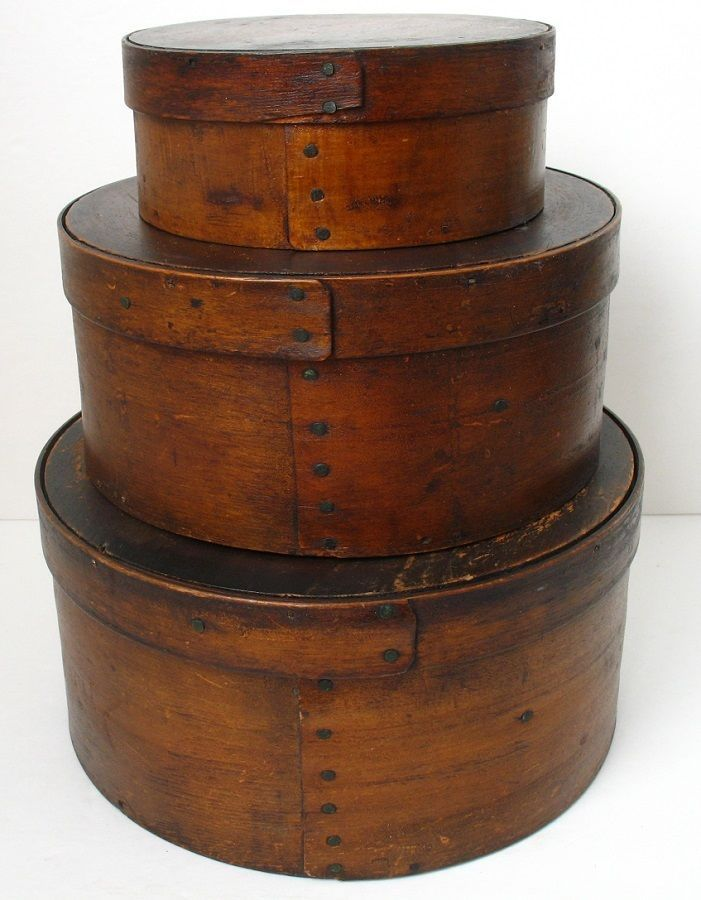 (This is a great stack of three matching 19th century pantry boxes. this is normal for these old pantry boxes. the lid and the round flat piece, to tighten it up (4th to last photo). The gap. going into the round wood piece).    Sold  Ebay   175.00