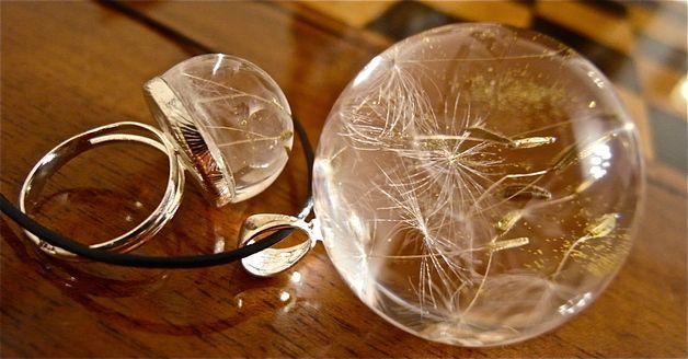 Naszyjnik i pierścionek z nasionami dmuchawca - Grol-jewellery - Naszyjniki
