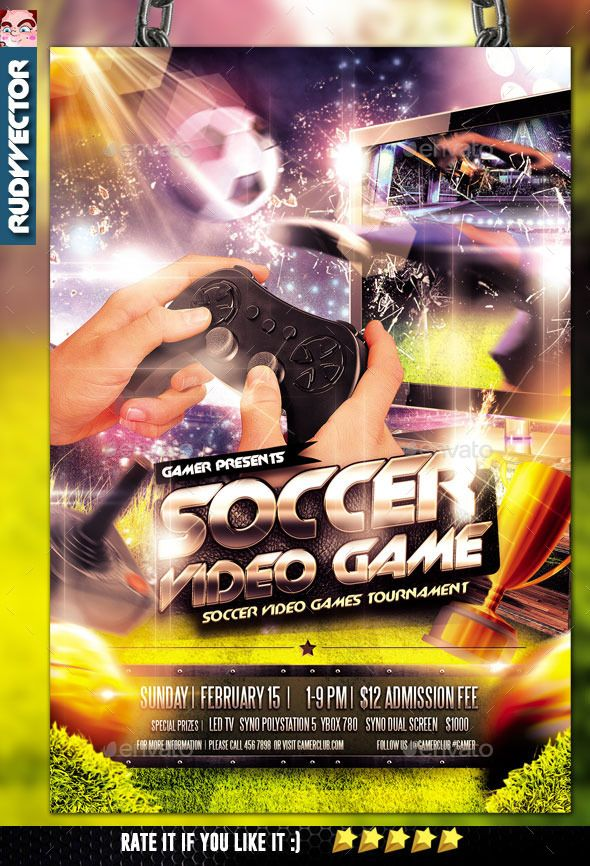 Soccer Video Game Tournament Flyer Design by rudyvector Soccer Video Game Tournament Flyer Design. Best for your soccer video game tournament flyer, soccer game flyer, video games tourna