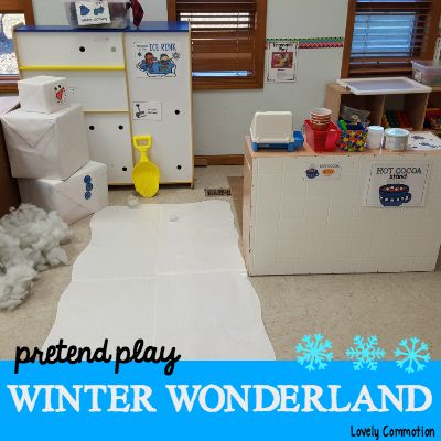 Create a winter wonderland in the dramatic play center for your preschool children! It may be winter outside, but we are bringing the cold inside this week too! Check out our Pretend Play Winter Wonderland! An indoor ice skating rink for preschoolers! Students can ice skate in socks on this homemade