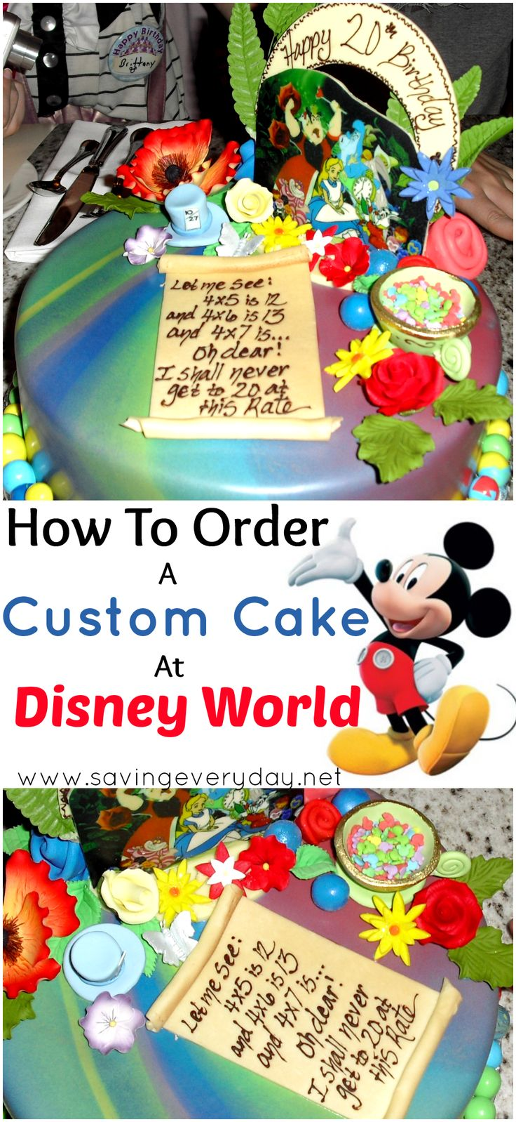 Disney loves to help you celebrate special occasions! Here's all you need to know to have a custom cake created by a Disney pastry chef, and check out the Alice In Wonderland cake I had made for my daughter! - http://www.savingeveryday.net/2014/09/custom-cake-made-disney-world/