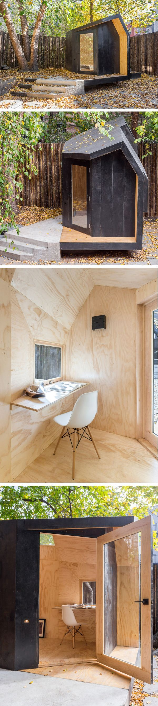 Architensions designed a tiny writing pavilion in brooklyn new york