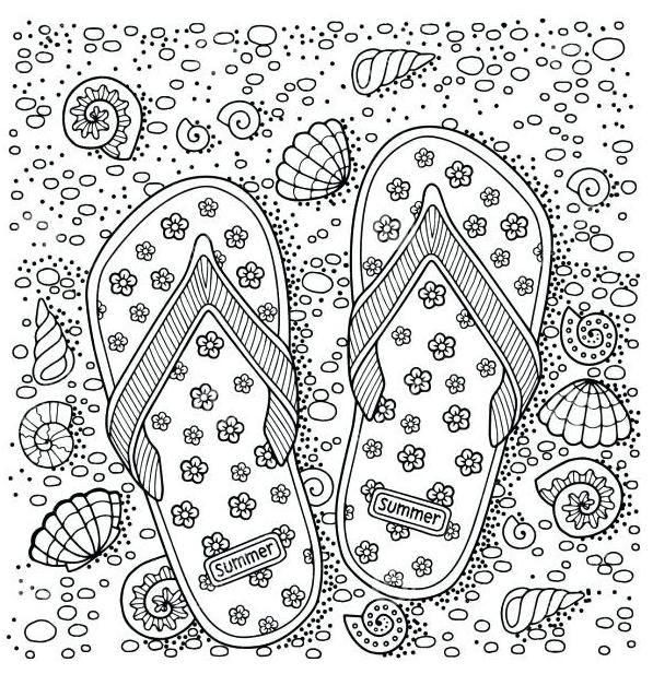Flip Flop Beach Coloring Page Summer Coloring Pages Beach Coloring Pages Coloring Books