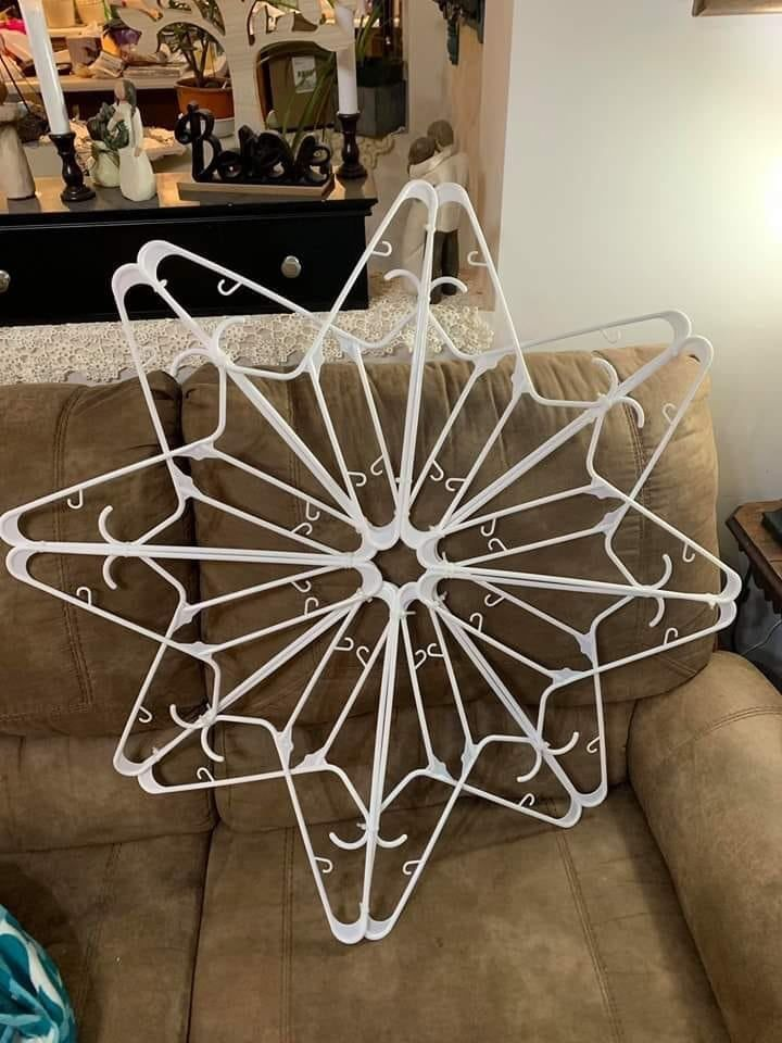 Snowflake Made From White Wire Coat Hangers Christmas Crafts