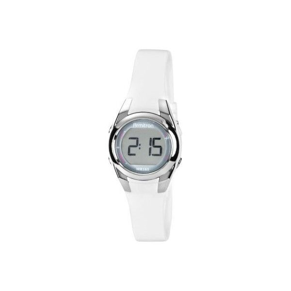 Armitron Womens White Digital Multi-function Watch (€27) ❤ liked on Polyvore featuring jewelry, watches, sporty watches, quartz wrist watch, digital wristwatch, digital watches and water resistant watches