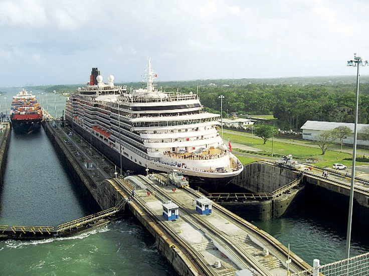 Queen Victoria's maiden transit of the Panama Canal.