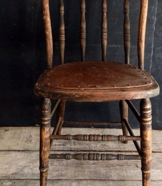 Primitive Kitchen Table And Chairs: Primitive Antique Spindle Back Chair, Urban Farmhouse