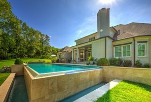 Mediterranean Swimming Pool with Pool with hot tub, exterior tile floors, Fence