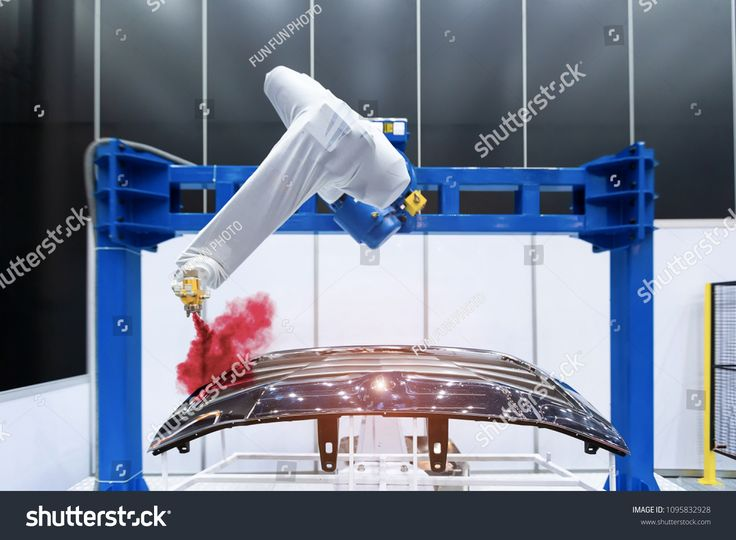 Robotic arm painting spray to the automotive part. High-technology manufacturing concept. #Sponsored , #affiliate, #spray#automotive#painting#Robotic