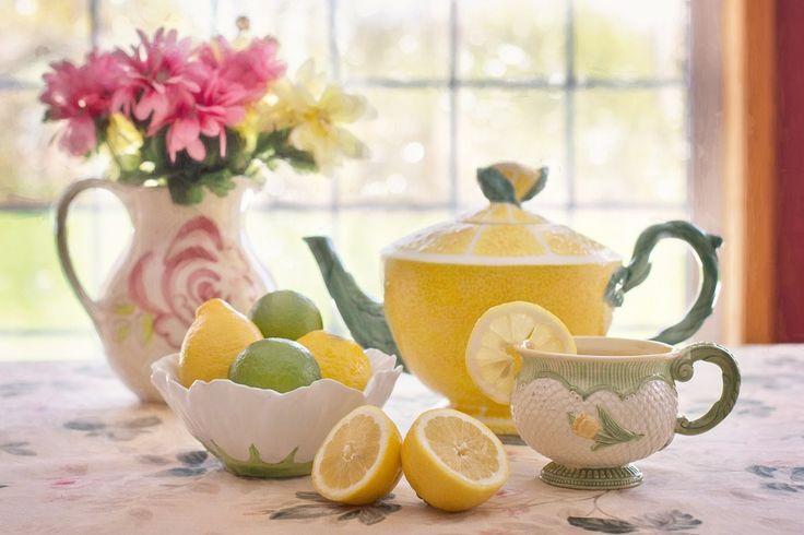 #tea #lemon #flower #flowers #yellow #green #hour #mug #cup #time