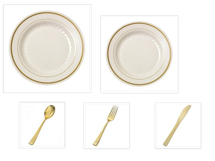 "Gold Splendor Ivory/Gold 10 1/4"" Dinner Plates + 7"" Salad Plates + Gold Cutlery *Party of 60* - Ordered these and they are perfect! Nice heavy plastic for the plates and the utensils look perfect!"