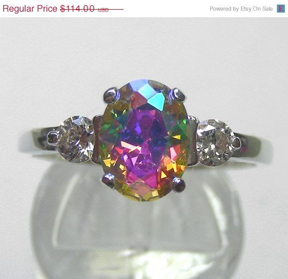 Unique Engagement Ring Lunar Lavender Mystic Fire Ice By MysticTopazJewelry