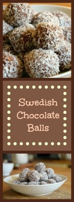 Sweden's favorite chocolate treat. Easy to make. Every Swedish kid knows how to make these Chokladbollar.